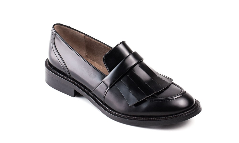 Woman vegan flat loafer shoes with studded fringe eco /& water-resist microfiber