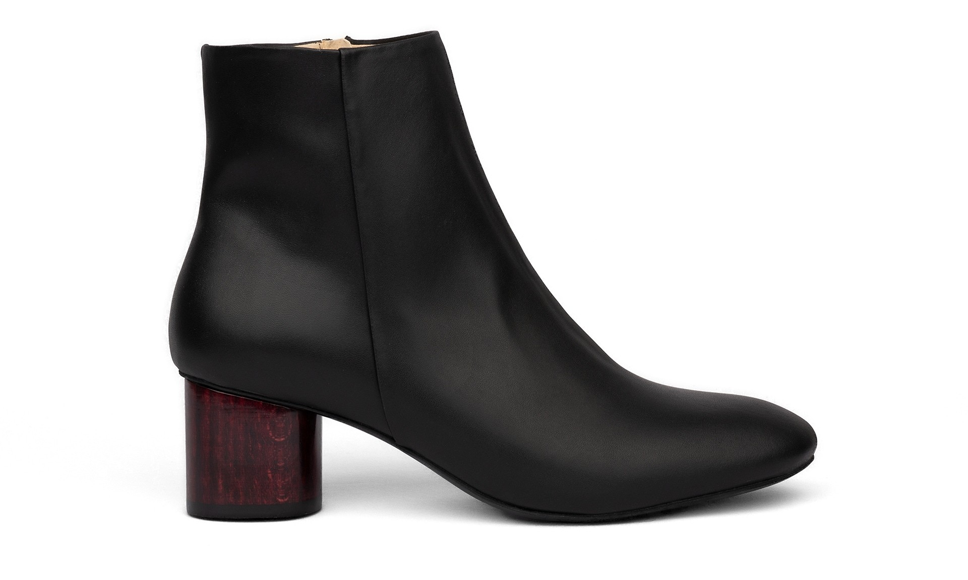 SYDNEY BROWN Low Ankle Boot Black Wine