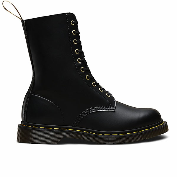 Veganer Stiefel | DR. MARTENS 1490 10-Eye Boot Black Felix Rub Off